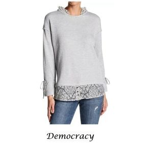 Democracy Knit Lace Long Sleeve Top